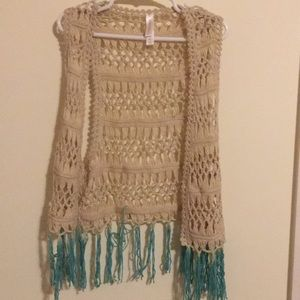 Crocheted Vest With Teal Tassels